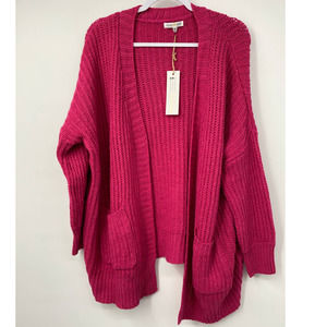 Woven Heart Knit Open Front Cardigan Sweater - NEW